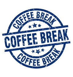 Coffee break blue round grunge stamp vector