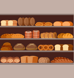 counter with bread vector image
