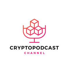 crypto podcast logo icon for blockchain vector image