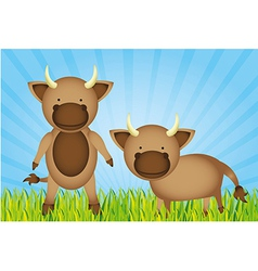 cute cartoon bulls with grass and sky vector image