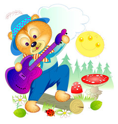 Cute little bear playing guitar in forest vector