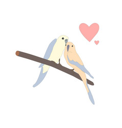 Cute lovely birds sitting on a branch vector