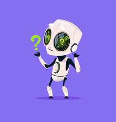 Cute robot with question mark isolated icon on vector