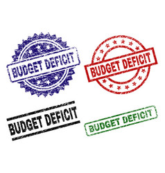 Damaged textured budget deficit stamp seals vector