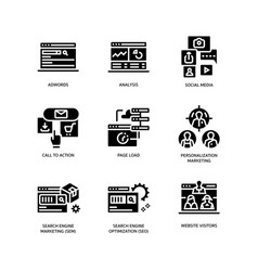 digital marketing icons set 3 vector image