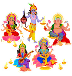diwali indian holiday gods and goddess set vector image
