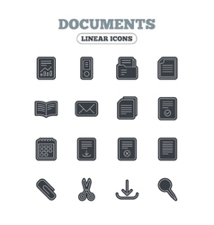 Documents linear icons Accounting book vector image