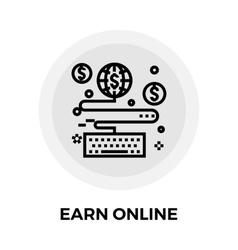 Earn Online Line Icon vector image