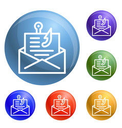Email phishing icons set vector
