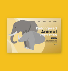 Endangered animal protection landing page vector