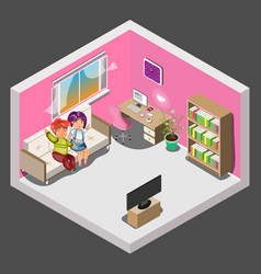 family in the living room sitting together on the vector image