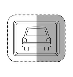 Figure square with car front inside vector