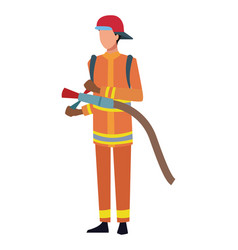 Firefighter jobs and professions avatar vector