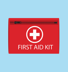 first aid kit isolated on blue background vector image