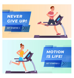 fitness website landing page flat set vector image