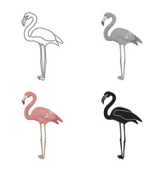 Flamingo icon in cartoon style isolated on white vector