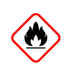 Flammable material warning glyph symbol vector