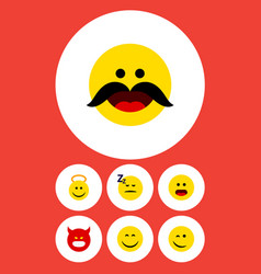 Flat icon face set of winking smile pouting and vector