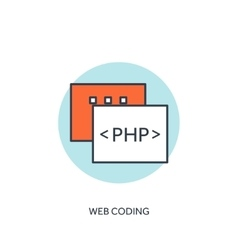 Flat lined document with php code coding vector
