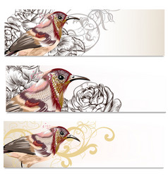 Floral business cards set with birds and flowers vector