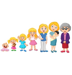 Generations woman Stages of development woman vector