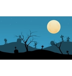 Halloween with gravesyard backgrounds silhouette vector