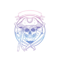 hand drawn sketch pirate skull vector image