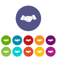 handshake set icons vector image