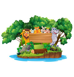 happy animal on wooden banner vector image