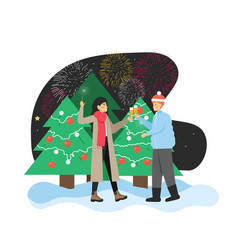 happy couple celebrating new year with champagne vector image