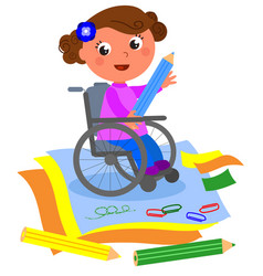 Happy disabled girl drawing with big crayon vector