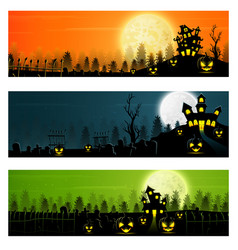 Happy halloween banner set with pumpkins and castl vector