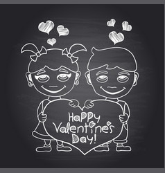 Happy valentines day chalkboard with boy and girl vector