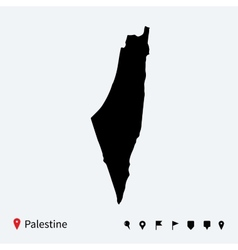 High detailed map of Palestine with navigation vector
