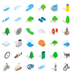hiking icons set isometric style vector image