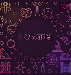 i love stem colorful outline frame or vector image