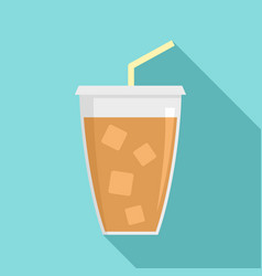 Ice cappuccino icon flat style vector