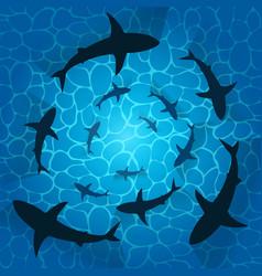 Illstration sharks in ocean isolated vector