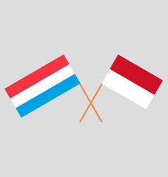 Indonesian and luxembourgish flags vector