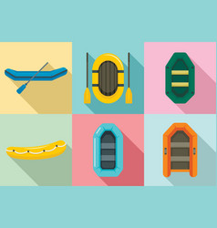 inflatable boat icon set flat style vector image