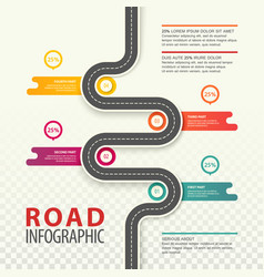 Infographic with top view on road with data vector