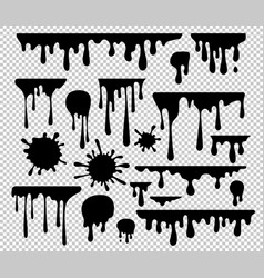 Ink blots and drips set isolated on transparent vector
