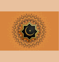 islamic decorative eid moon and star background vector image