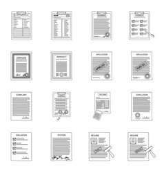 isolated object of form and document logo set of vector image