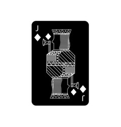 Jack of diamonds or tiles french playing cards vector