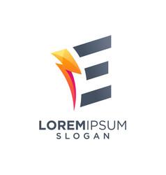 Letter e bolt logo design vector
