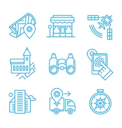 Location Line Icons vector