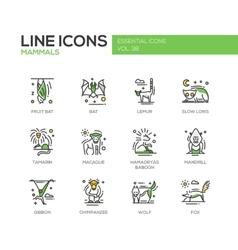 Mammals - line design icons set vector
