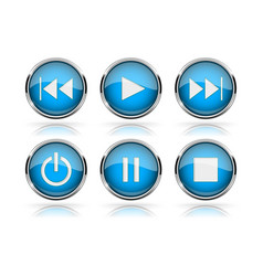 Media buttons blue round glass buttons with vector