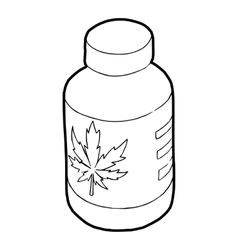 Medical marijua bottle icon outline style vector image